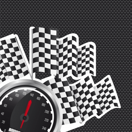 speed racing with checkered flag over black background. vector Vector
