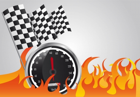 speed racing with fire and checkered flags. vector illustration Vector