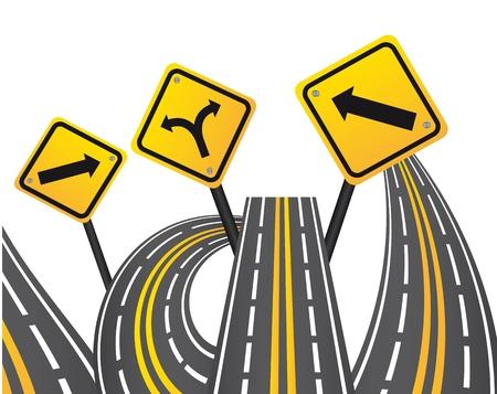 groviglio: cartelli gialli con strade su sfondo bianco. illustrazione Vettoriali