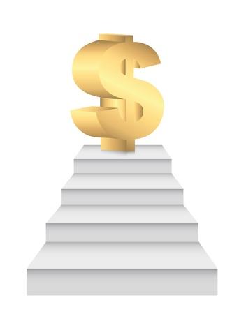 ladders to money over white background. illustration Stock Vector - 13881926