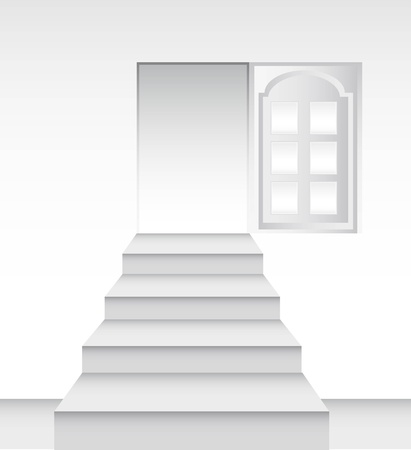 ladders towards the door. illustration Vector