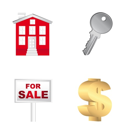 real estates icons isolated over white background. illustration Stock Vector - 13882114