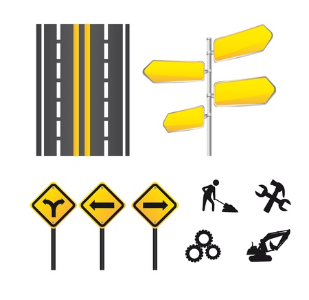 yellow signs icons isolated over white background.