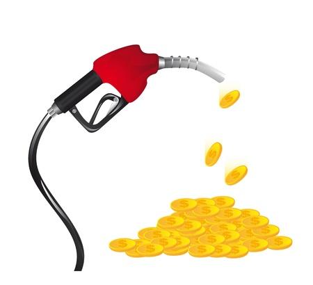 La gasolina de combustible con monedas sobre fondo blanco.