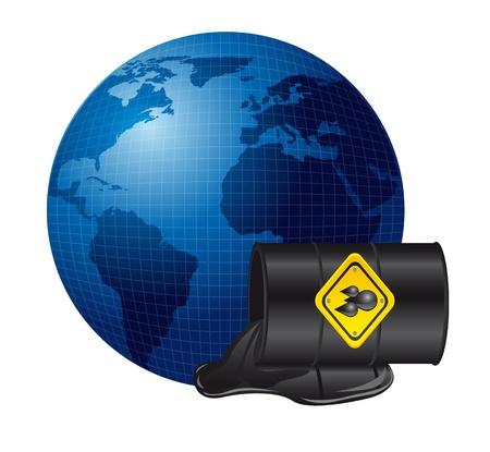 oil spill: oil spill over planet over white background. illustration Illustration