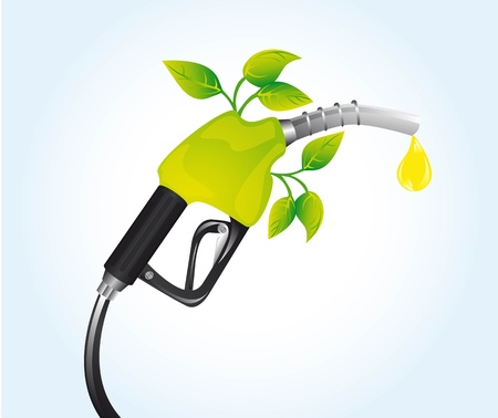 gasoline fuel with leaves over blue background.  Vector