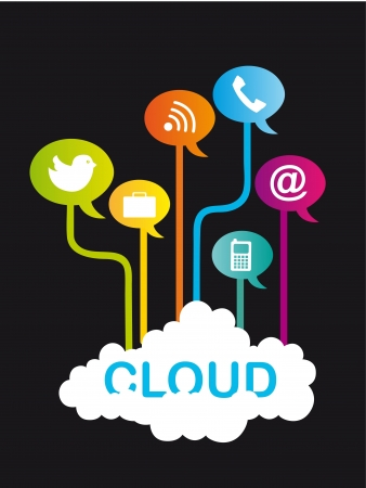 communication icons: cloud communication with icons over black background.