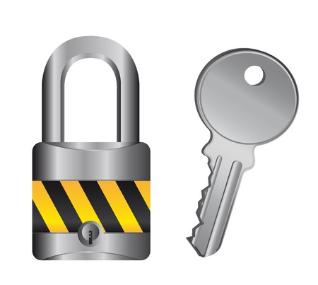 guard duty: candado con llave aisladas sobre fondo blanco. Vectores