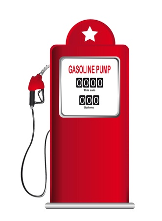 red gasoline pump isolated over white background.  Illustration