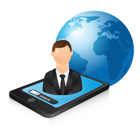 computer user: businessman over phone and planet. illustration