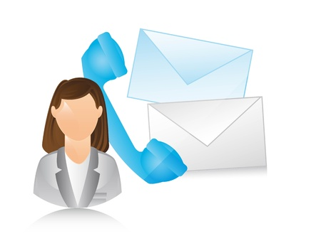receptionist with phone and envelope. illustration Vector