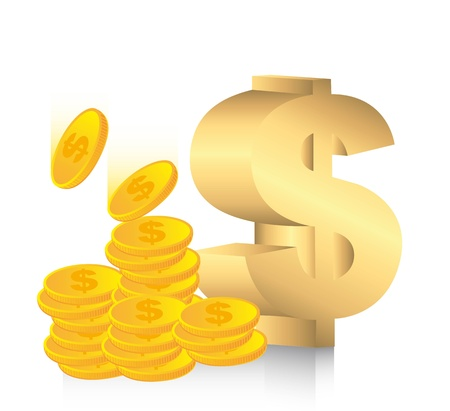 gold dollar sign with coins. illustration Vector