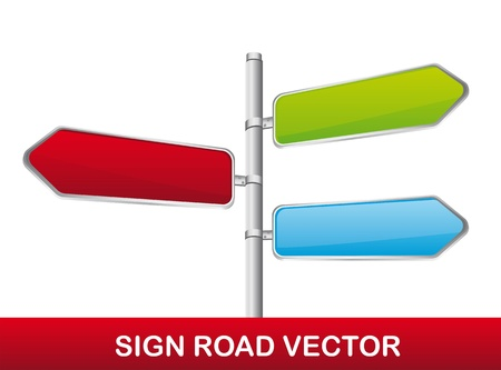 directions: colorful road sign isolated over white background.  Illustration