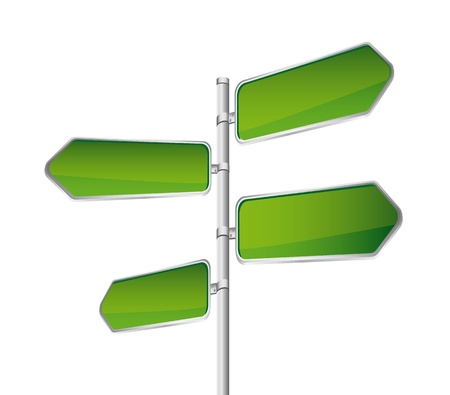 green direction road sign isolated over white backgroun.  Vector
