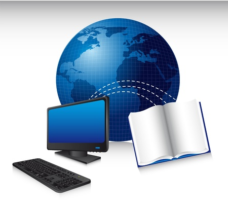 computer with  book and world, technology. illustration Vector