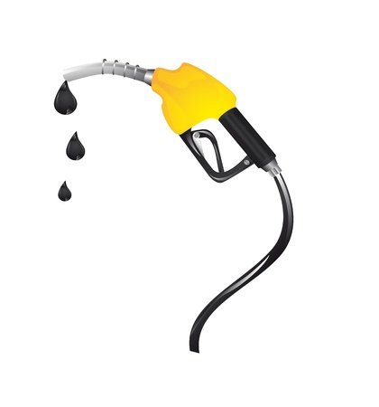 petrol: yellow gasoline fuel with drops over white background.  Illustration