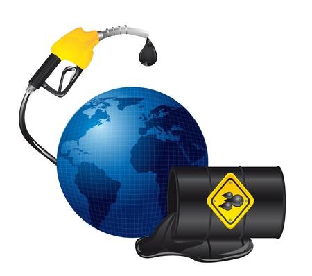 oil spill: oil spill over planet isolated over white background. illustration Illustration
