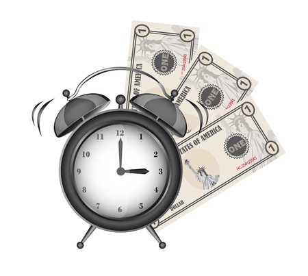 alarm clock with bills isolated over white background.  Vector