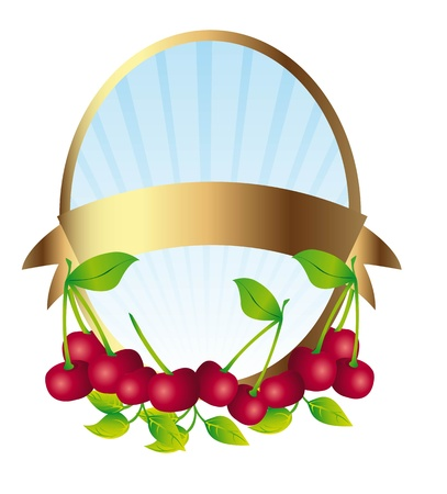 cherries label isolated over whtie background. illustration Vector