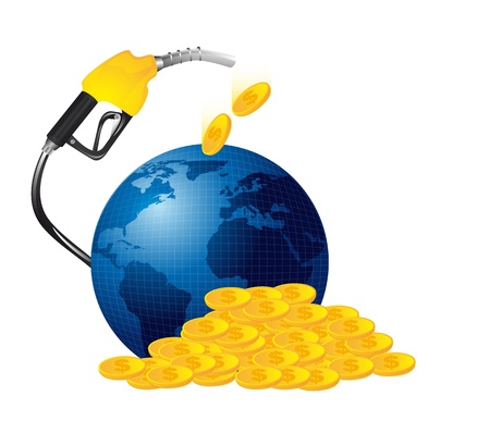 gasoline fuel with money isolated. illustration Vector