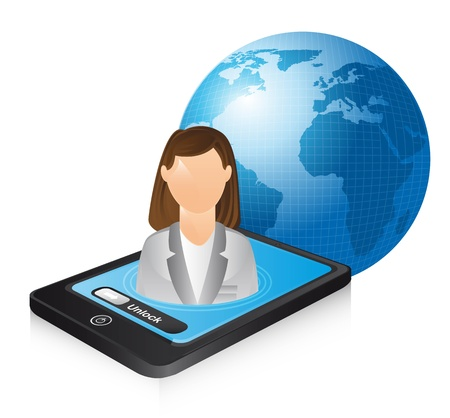 businesswoman over phone and planet. illustration Vector