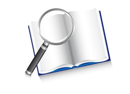 la lupa sobre el libro, de búsqueda. ilustración Foto de archivo - 13882061