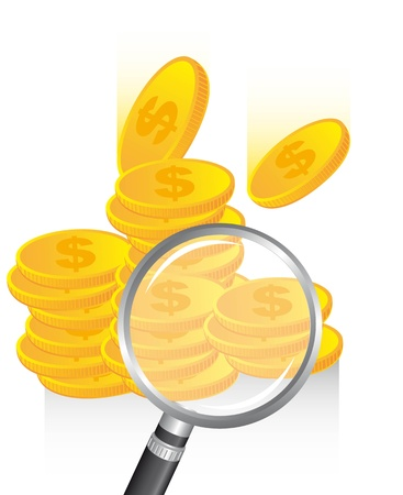 magnifying glass over coins. vector illustration Stock Vector - 13882337