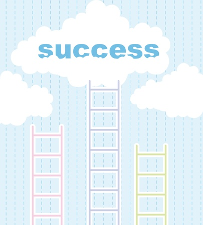 cute ladders to success over cute sky background. illustration Vector