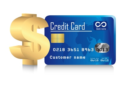 credit card with gold dollar sign with shadow. illustration Vector
