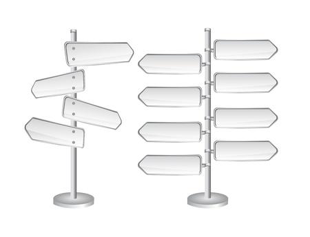 road warning sign: se�ales de tr�fico en blanco aislado sobre fondo blanco. ilustraci�n