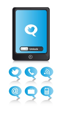 phone with blue icons over  white background. illustration Stock Vector - 13882063