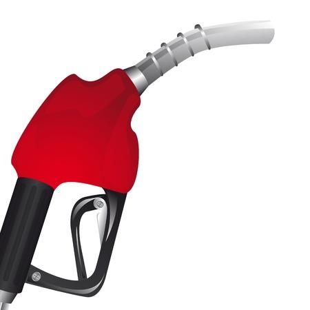 red gasoline pump pover white background. illustration Vector