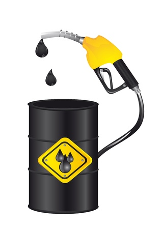 toxic barrels: gasoline pump with barrel isolated over white background.