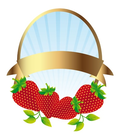 strawberry label isolated over white background. illustration Vector
