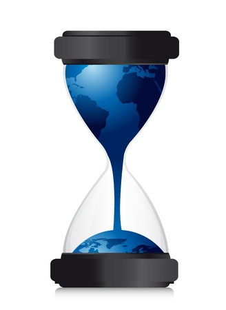 sandglass: hourglass with planet over white background, conceptual. illustration Illustration