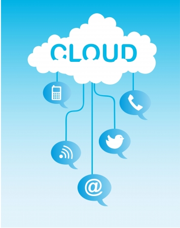 cloud communication with icons over sky background.  Stock Vector - 13882071