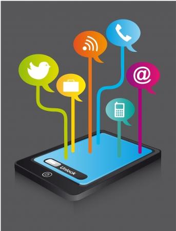 t�l�phone avec des ic�nes color�es, communication. illustration Illustration