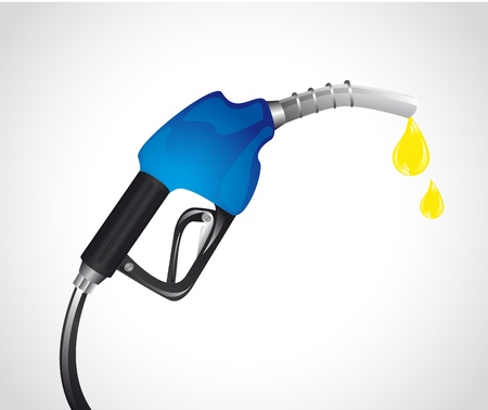 blue gasoline pump with drops over gray background.
