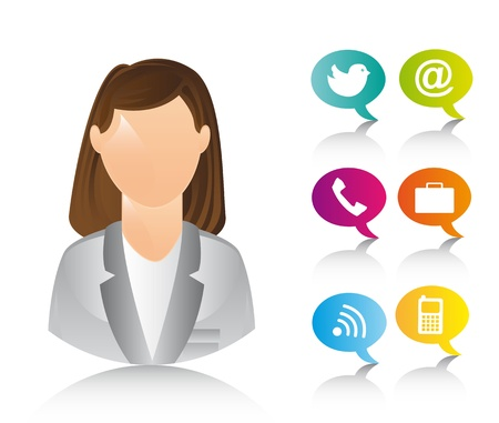 businesswoman with icons over white background.  Vector