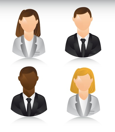 business people icons with shadow. illustration Vector