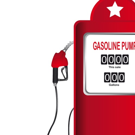 bomba de gasolina: bomba de gasolina de color rojo sobre fondo blanco. ilustración vectorial