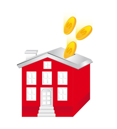 outgoings: piggy house with coins isolated over white background. vector Illustration