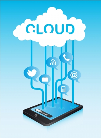 cloud communication with icons and phone. illustration Stock Vector - 13882220