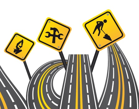 stay on course: yellow signs with streets over white background. illustration