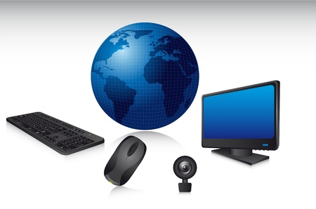computer set with shadow, technology. illustration Vector