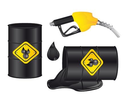 toxic barrels: barril de gasolina con la bomba de gasolina aislado. ilustraci�n Vectores