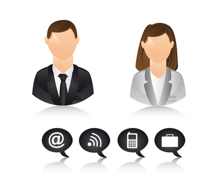businessman and businesswoman icons. illustration Vector