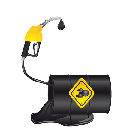 oil spill: oil spill with gasoline pump isolated over white background.