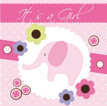 pink baby shower card with cute elephant.  Vector