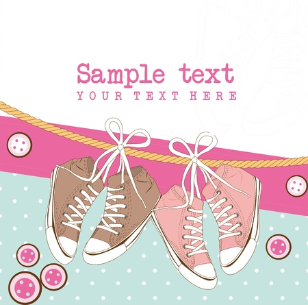 sneakers over cute background and space for copy. Illustration